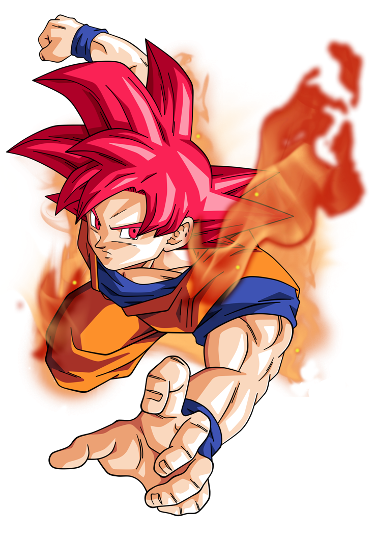 Goku super saiyan god by bardocksonic-d7ppcr2.png - Dbz PNG