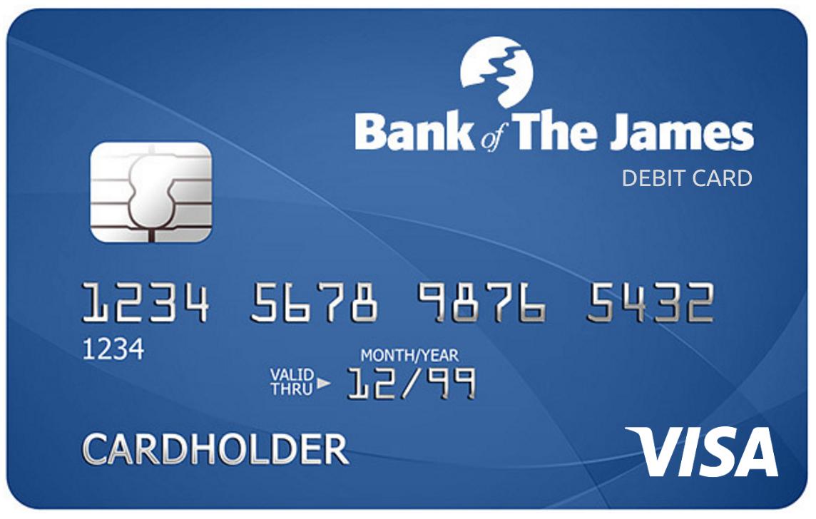 Bank of the James VISA Debit Card with CardValet - Debit Card PNG