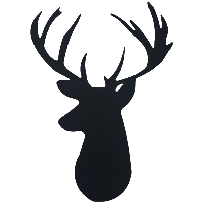 Deer Head Black Metal Wall Sign Decor - Deer Head PNG Black And White