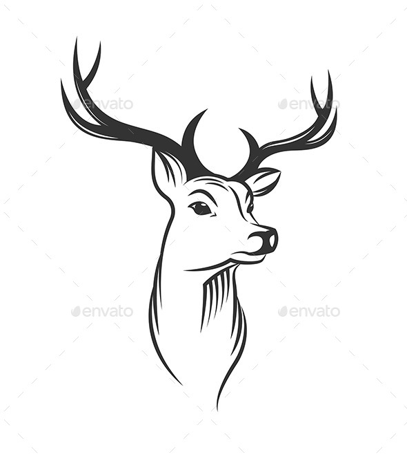 Deer Head on White Background - Animals Characters - Deer Head PNG Black And White