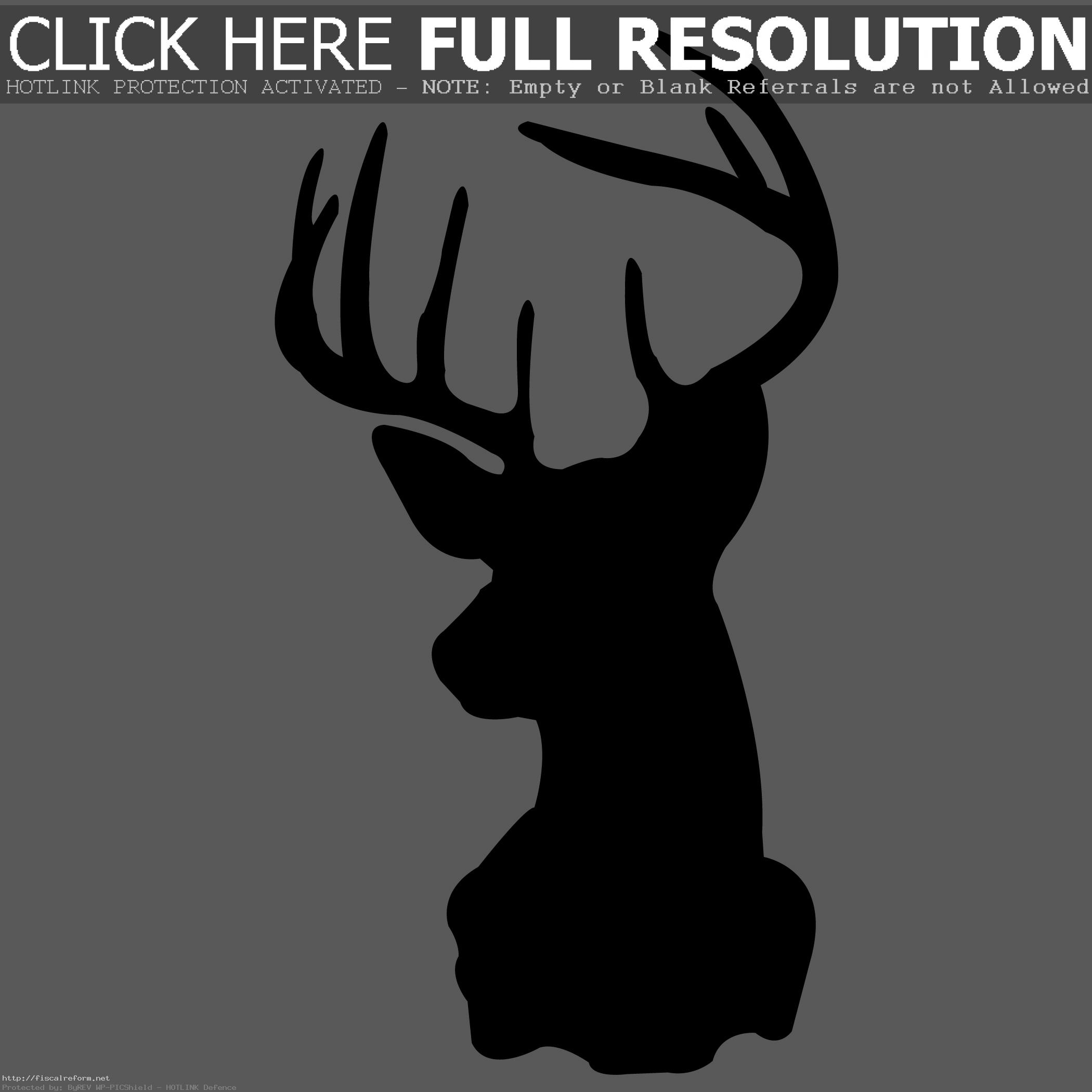 . PlusPng.com Rustic Whitetail Deer Silhouette Silhouettes Black And Stuning Head PlusPng.com  - Deer Head PNG Black And White
