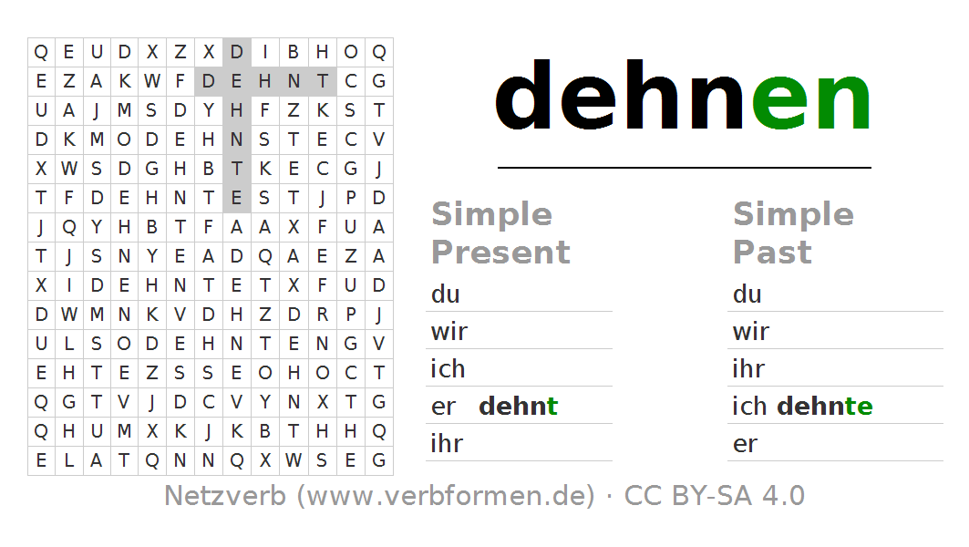 Word search puzzle for the conjugation of the verb dehnen. Word search PNG - Dehnen PNG