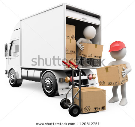 3d white persons unloading boxes from a truck to a hand truck. 3d image. - Delivery Truck Unloading PNG