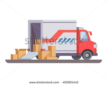 Delivery truck with box - Delivery Truck Unloading PNG