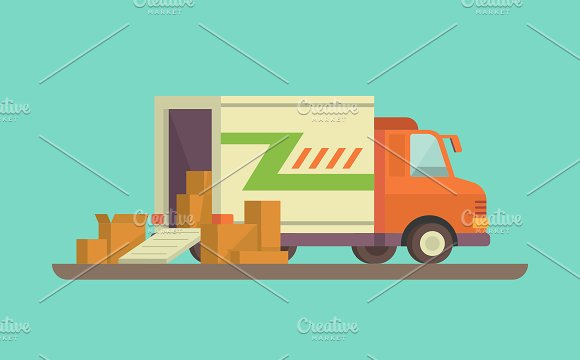 Unloading or loading delivery truck - Illustrations - Delivery Truck Unloading PNG