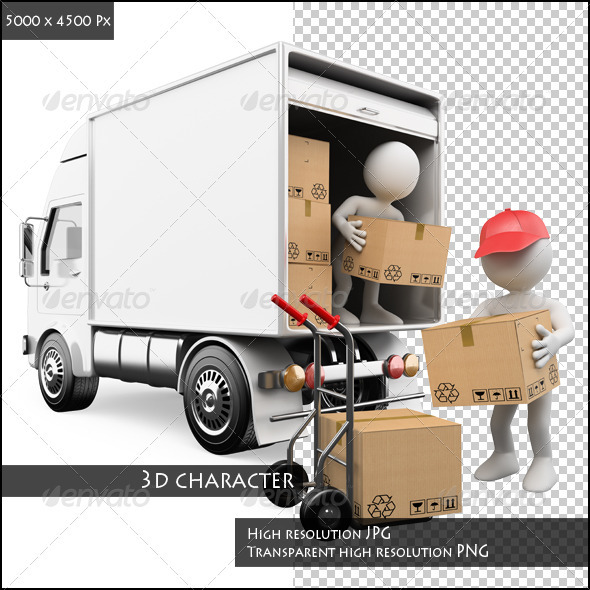 Workers Unloading Boxes from a Truck - Characters 3D Renders - Delivery Truck Unloading PNG