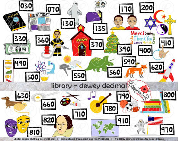 Library Dewey Decimal Category Clipart: (300 dpi transparent png) School  Teacher Clip Art Librarian Classification from poppydreamz on Etsy Studio - Dewey Decimal System PNG