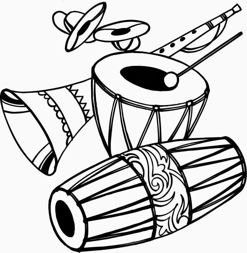 Dhol PNG Black And White - 135141