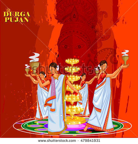 easy to edit vector illustration of ladies dancing with dhunuchi for Happy  Durga Puja India festival - Dhunuchi PNG