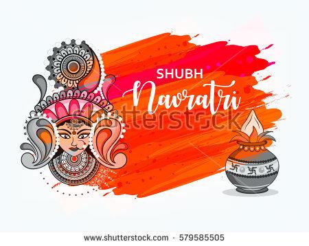 Happy Navratri, Vector Illustration based on Beautiful grungy background  with Maa Durga face and Kalash - Dhunuchi PNG