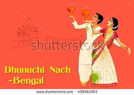 Vector design of Couple performing Dhunuchi dance of Bengal, India - Dhunuchi PNG