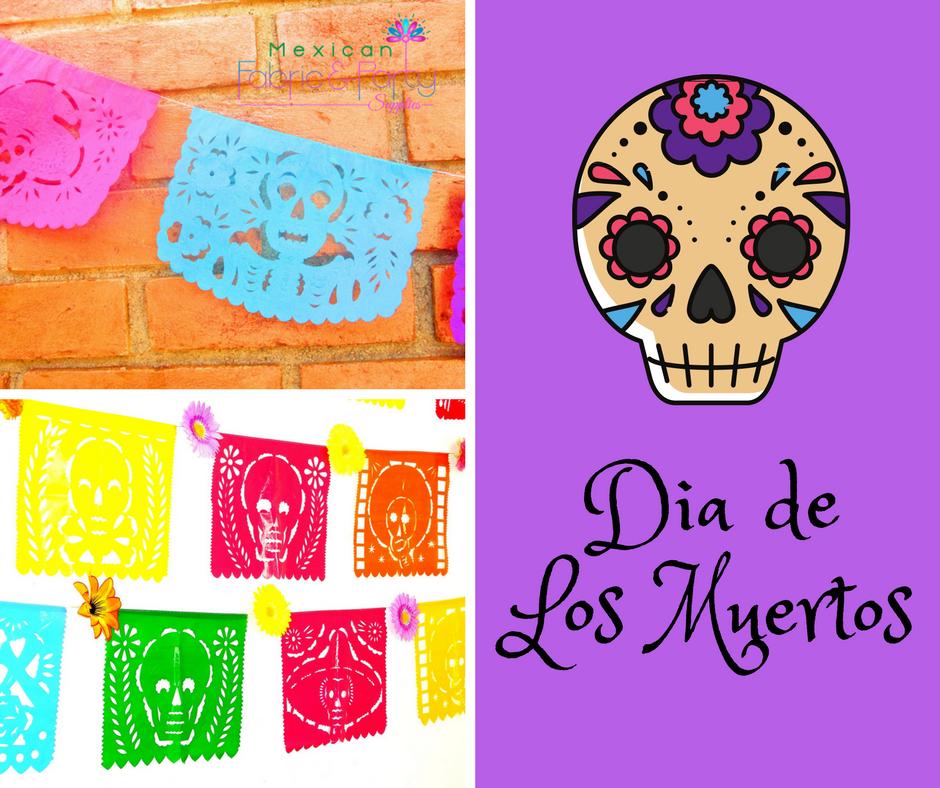 Day of the dead banner, MULTICOLOR LARGE 16ft, papel picado banner, Mexico  party - Dia De Los Muertos Banner PNG