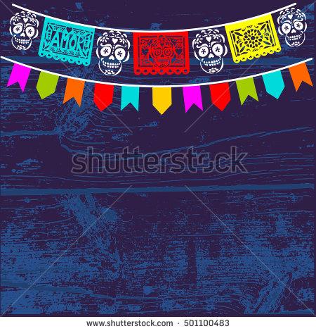 Dia de Los Muertos, Mexican Day of the Dead background with paper cut flags, - Dia De Los Muertos Banner PNG