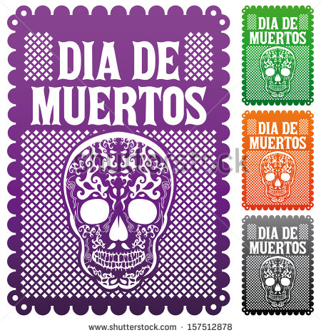 Dia de Muertos - Mexican Day of the death spanish text vector decoration set - Dia De Los Muertos Banner PNG