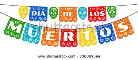 Mexican bunting for Day of the Dead (Dia de los Muertos) - Dia De Los Muertos Banner PNG