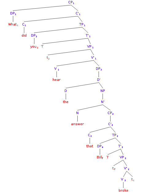File:Syntax Tree English - What did you hear the answer that bill broke. - Did You Hear PNG