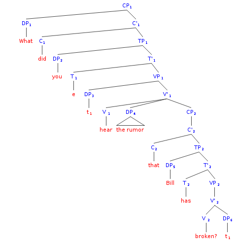 File:Syntax Tree English - What did you hear the rumor that Bill has broken - Did You Hear PNG