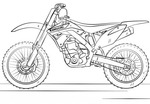 Kawasaki Motocross Bike coloring page - Dirt Bike PNG Free
