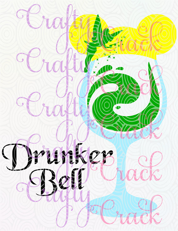 Drunker Bell - Tinkerbell Disney Inspired Wine Glass SVG/DXF/PNG Digital  Download For Silhouette Studio/Cricut Design Space From CraftyCrackCo On  Etsy PlusPng.com  - Disney Shh PNG