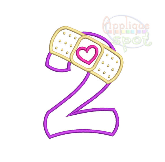 Bandaid Second 2nd Birthday Doc McStuffins Number 2 -sizes: 4x4, 5x7, 6x10  Applique Design Embroidery Machine -Instant Download File - Doc Mcstuffins 2nd Birthday PNG
