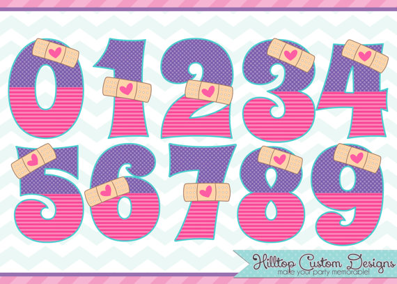 Doc McStuffins Inspired Boo Boo Numbers Clipart In JPG And PNG Formats.  Instant Download By - Doc Mcstuffins 2nd Birthday PNG