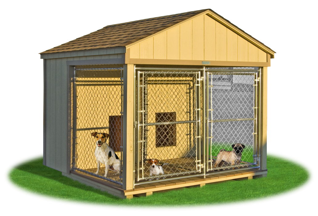medium double animal kennel outside - Dog Kennel PNG