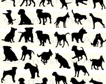 32 Dog Silhouette Clipart, 32 PNG, 32 JPG, Commercial License, Instant  download - Dog PNG Jpg