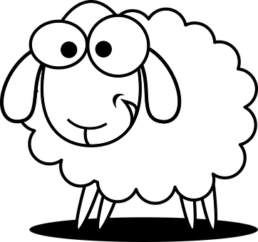 Sheep Animal Farm Agriculture Cute Funny S - Domestic Animals PNG Black And White