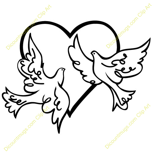 Clipart 12512 Two Doves in a Heart - Two Doves in a Heart mugs, t-shirts,  picture mouse pads, u0026 - Dove Wedding PNG Black And White