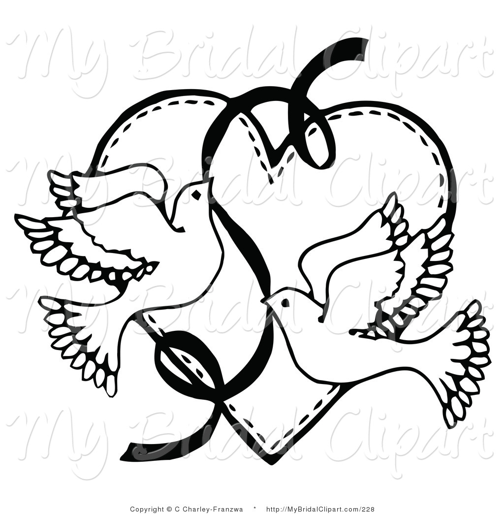 Pages Clip Art - Dove Wedding PNG Black And White