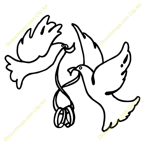 Dove Wedding PNG Black And White - 136001