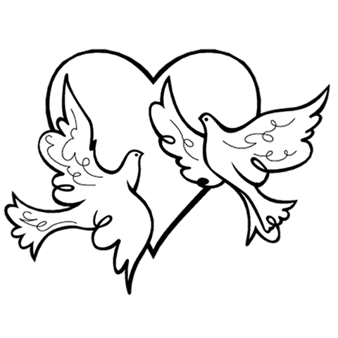 Dove Wedding PNG Black And White - 136008