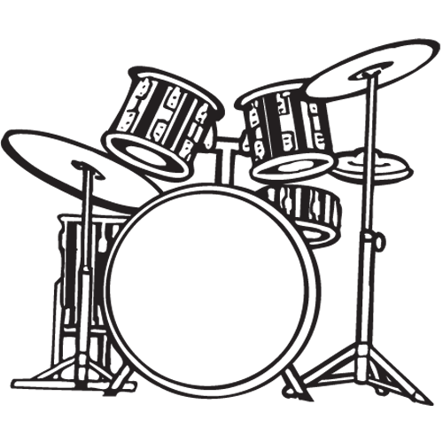 Drum Set PNG Black And White