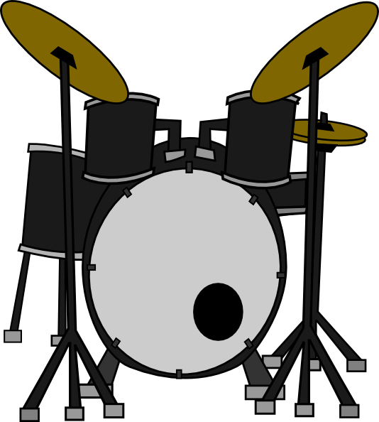 Drum Set Clipart Black And White - Drum Set PNG Black And White