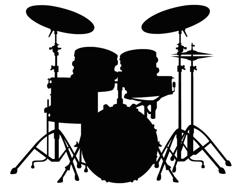 Drum Set Silhouette Wall Clipart - Drum Set PNG Black And White