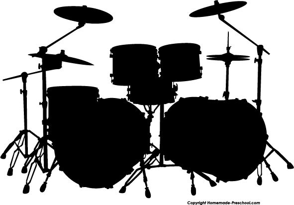 Drums Clip Art - Drum Set PNG Black And White