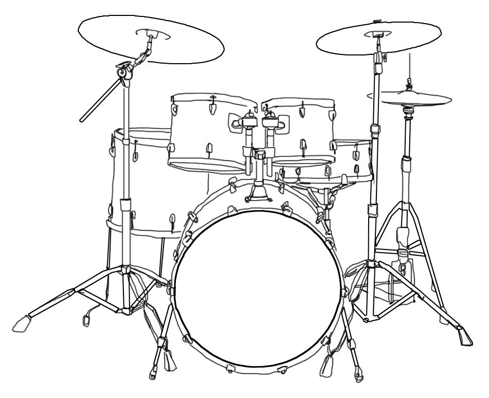File:Drum Kit Illustration.png - Drum Set PNG Black And White