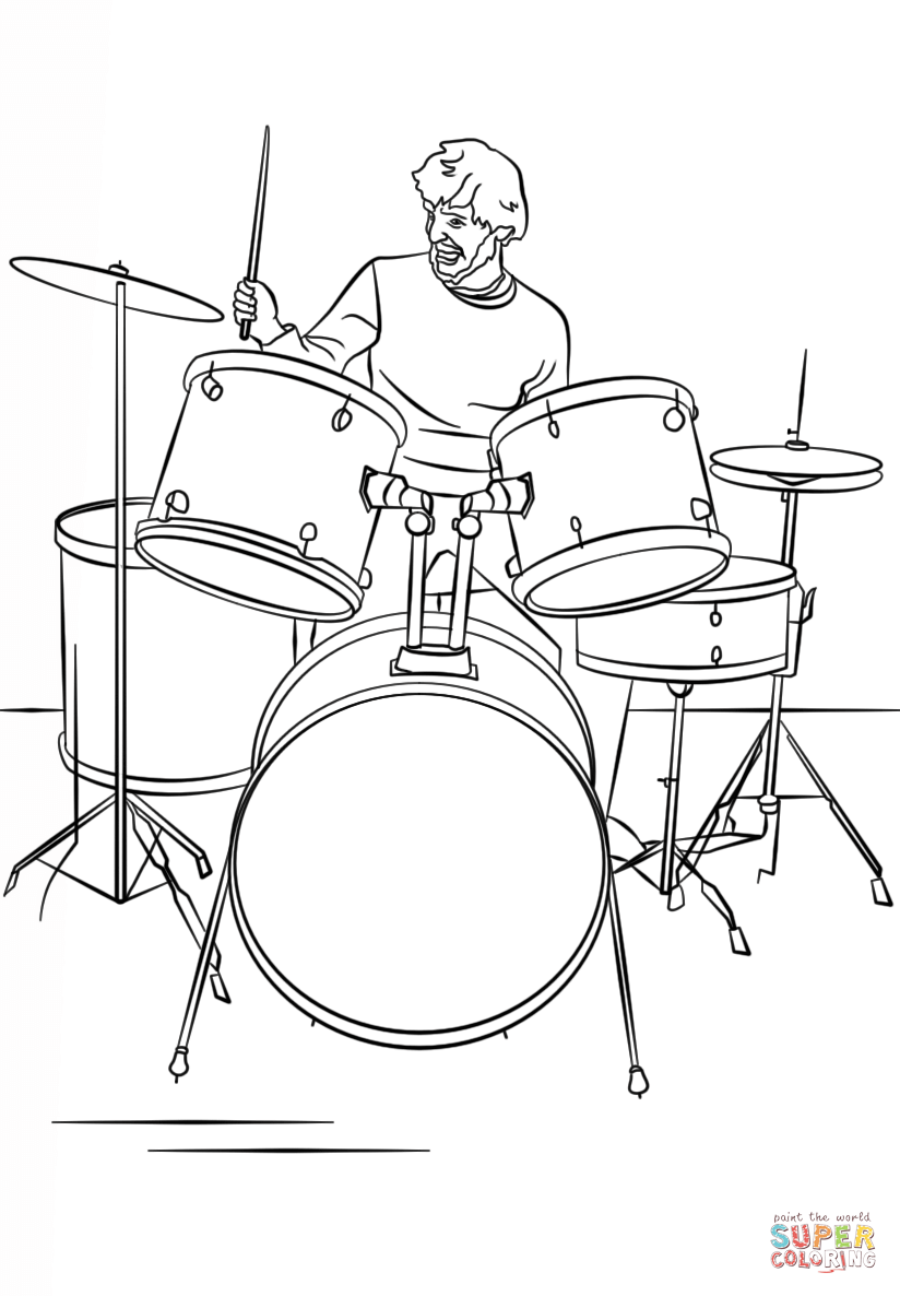 Full Size Of Coloring Page:breathtaking Drums Coloring Page Drum Set Player  Large Size Of Coloring Page:breathtaking Drums Coloring Page Drum Set  Player PlusPng.com  - Drum Set PNG Black And White