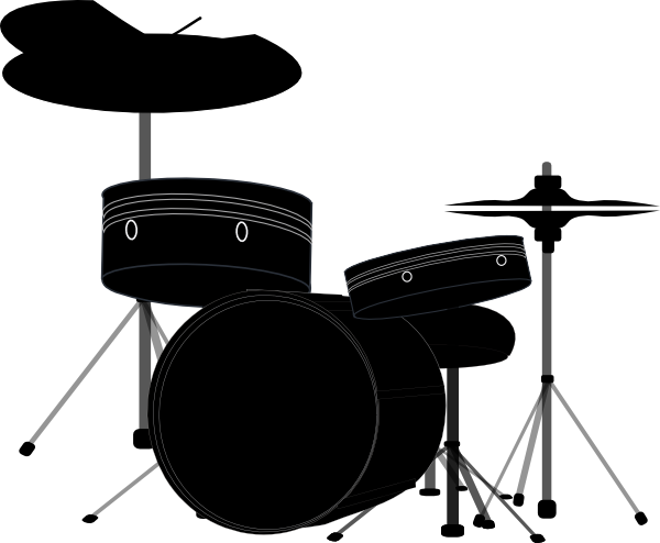 PNG: Small · Medium · Large - Drum Set PNG Black And White