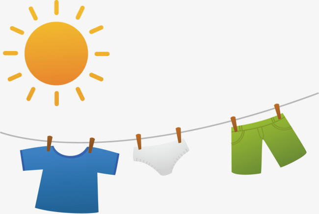 Dry Clothes Png Vector Material, Dry Clothes, Clothesline, Sun PNG And  Vector - Dry Clothes PNG