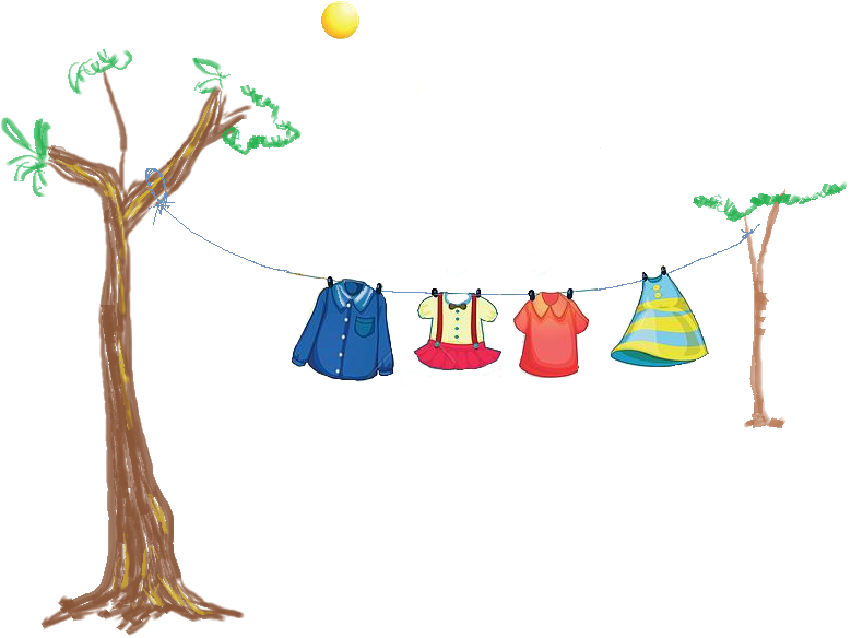 Wet Clothes Hanging In The Sun - Dry Clothes PNG