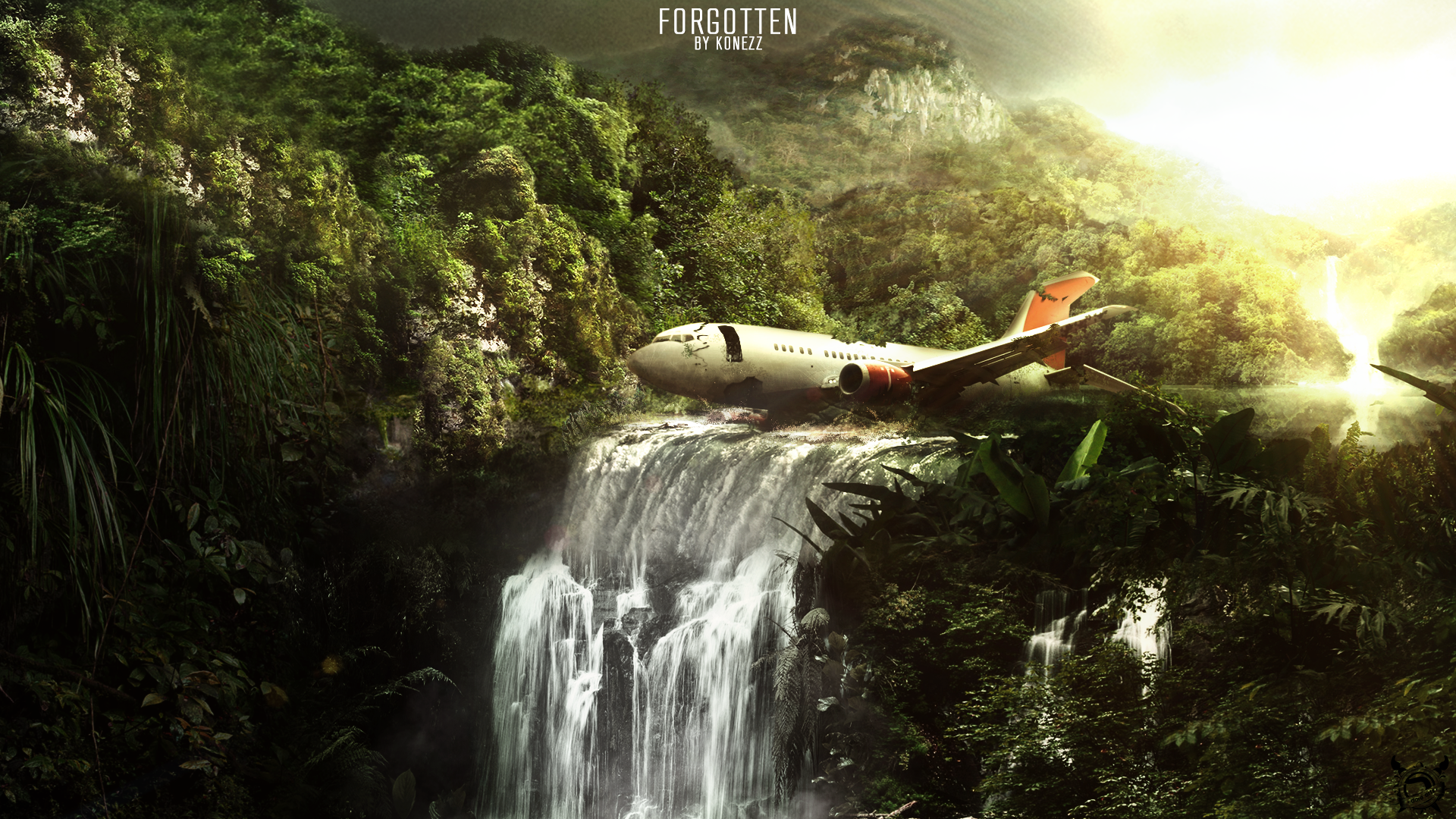 CGI - Dark Tropisch Wasserfall Dschungel Airplane Sunlight Wallpaper - Dschungel Hintergrund PNG