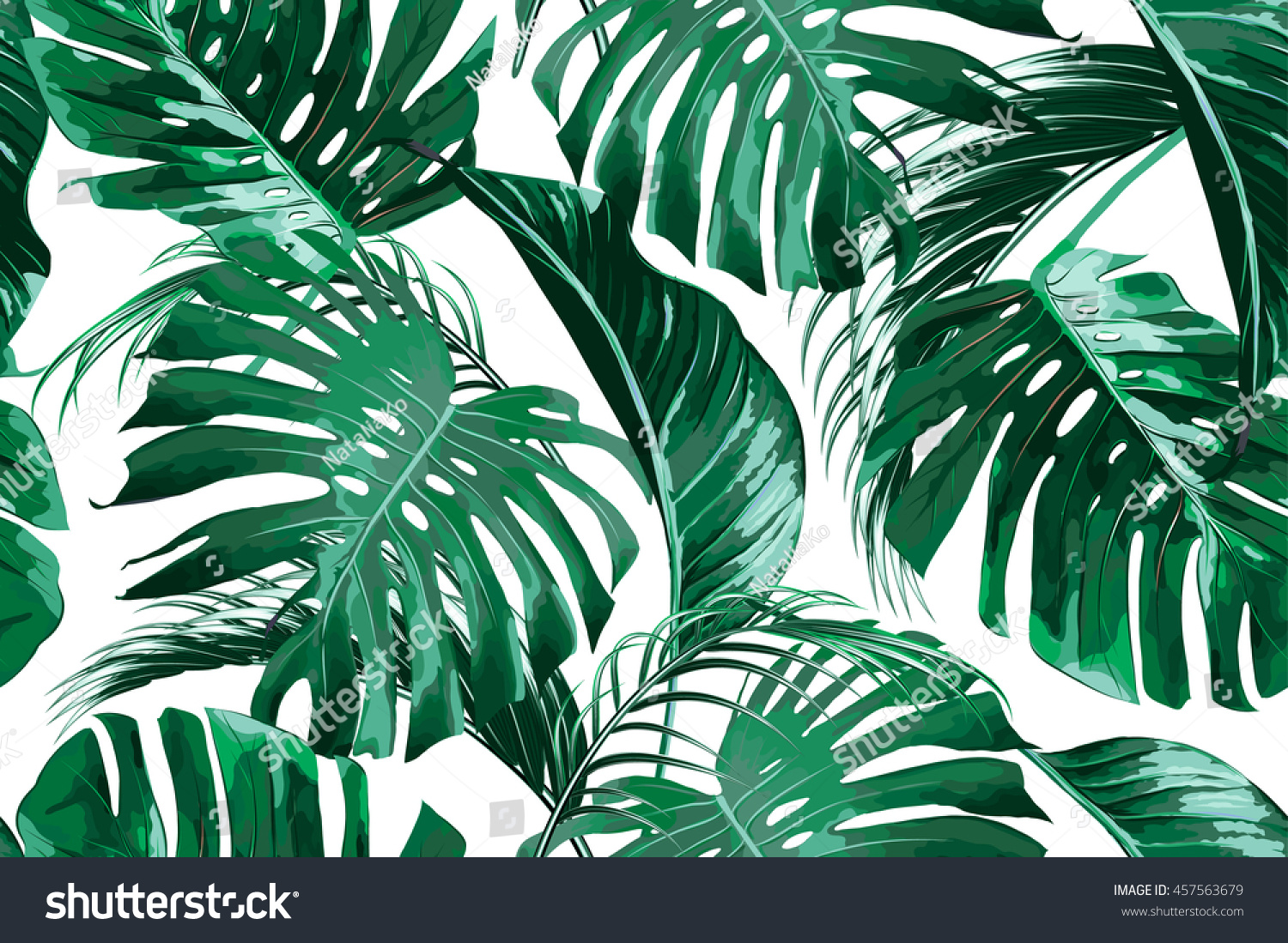 Tropical palm leaves, jungle leaf seamless vector floral pattern background - Dschungel Hintergrund PNG