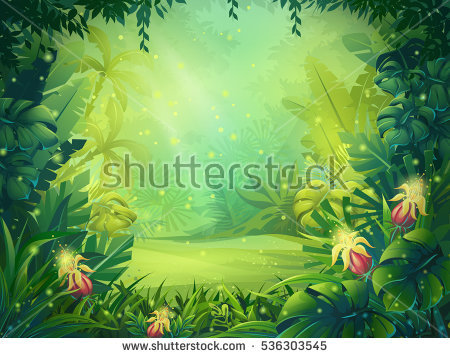 Vector Cartoon Illustration Background Morning Jungle Stock-vektorgrafik  536303545 - Shutterstock - Dschungel Hintergrund PNG
