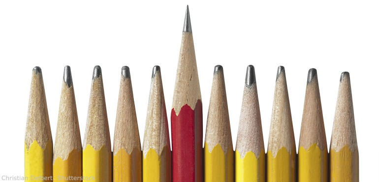 One sharp red pencil in the middle of ten dull yellow pencils - Dull Pencil PNG