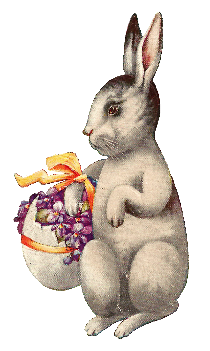 Antique Images: Free Easter Clip Art: Vintage Easter Bunny Carrying Egg  Basket on Postcard - Easter Basket Bunny PNG