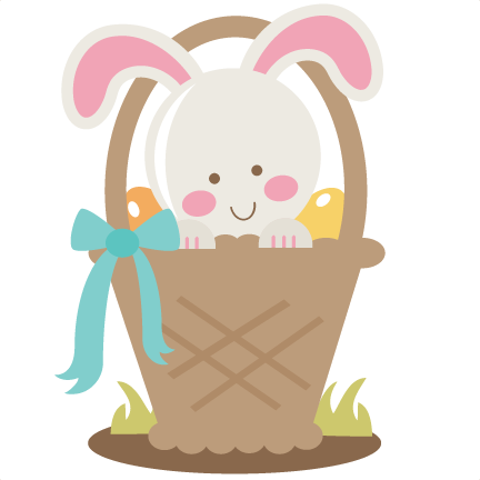 Bunny In Easter Basket SVG cu