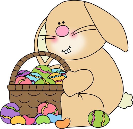 Bunny Sitting with an Easter Basket Clip Art - Easter Basket Bunny PNG
