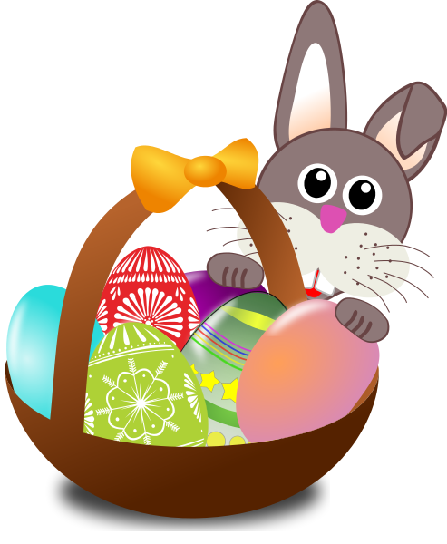 bunny with easter basket - /h