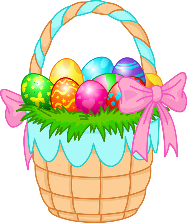 Colorful Easter Egg Cartoon images - Easter Basket Bunny PNG